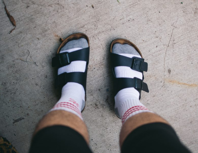 "For those of you who don't want to wear sandals with bare feet! How to pull off the ""Socks & Sandals"" look."